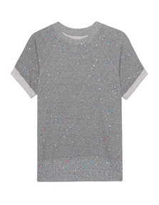 CURRENT/ELLIOTT Rolled Sleeve Sweatshirt Grey Paint Splatter