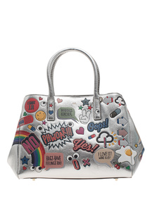 ANYA HINDMARCH Ebury Small Wink Stickers Metallic Silver