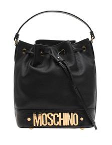 MOSCHINO Shoulder Bucket Logo Black