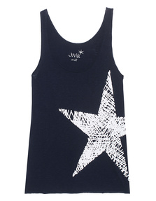 JUVIA Star Print Tank Navy