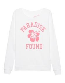 JUVIA Paradise Fleece Front Print White