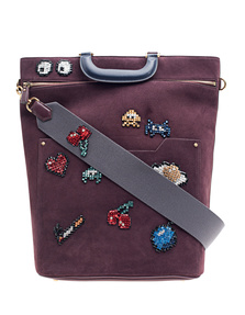 ANYA HINDMARCH Orsett Top Handle All Over Space Invaders Burgundy