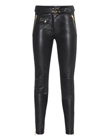 MOSCHINO Biker Pants Leather Black