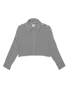 NORMA KAMALI Cropped Box Black White