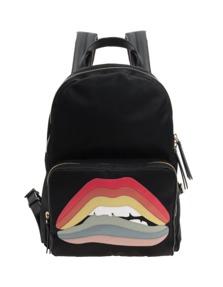 RED VALENTINO Rainbow Lips Back Black