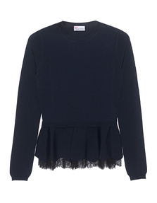 RED VALENTINO Shirt Peplum And Lace Navy