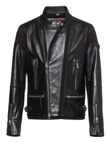 TRUE RELIGION Mens Leather Biker Black