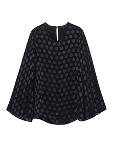 CUSHNIE ET OCHS Woven Satin Dot Cape Black