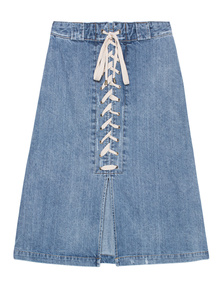 SEA  Lace Up Skirt Indigo