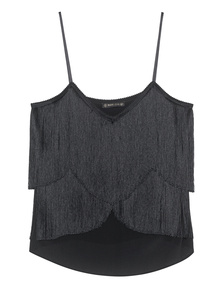 Plein Sud Slim Strap Fringes Black