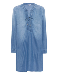 SPLENDID Adelise Indigo Lace Up Shirtdress