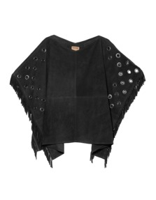 TRUE RELIGION Womens Leather Poncho Black