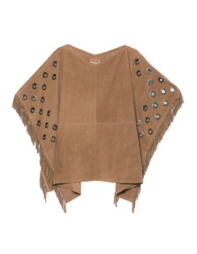 TRUE RELIGION Womens Leather Poncho Light Taupe