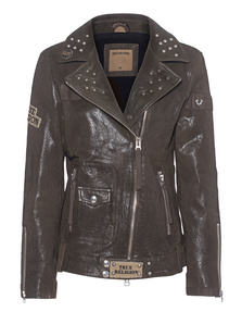 TRUE RELIGION Biker Patches Military Green