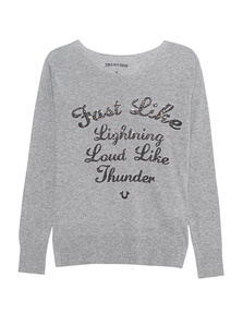 TRUE RELIGION Crew Sweater Ride On Grey Marl