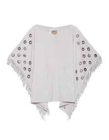 TRUE RELIGION Womens Leather Poncho Silver Gray
