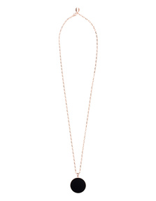 BRONZALLURE Alba Onyx Disc Necklace