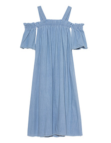 SJYP Denim Off Shoulder Light Blue
