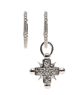MANUELA MERK Mini Creolen Mimi Cross Silver