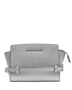 MICHAEL Michael KORS Selma Mini Saffiano Leather Crossbody Silver