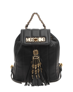 MOSCHINO Backpack Gold Detail Black