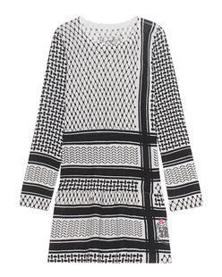 FROGBOX Pali Print Dress Black White