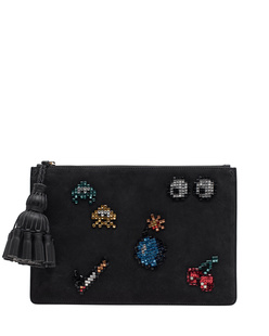 ANYA HINDMARCH Georgiana All Over Space Invaders Charcoal