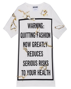 MOSCHINO Printed Burn Letter Off White
