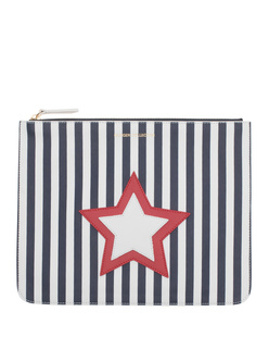 HILFIGER COLLECTION Striped Star Pouch White