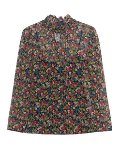 RED VALENTINO Turtle Neck Blouse Flower Multi