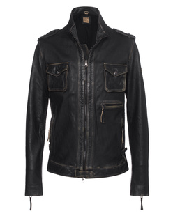 TRUE RELIGION Leather Funnel Black
