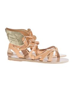 Ancient Greek Sandals Nephele Natural Cracked Gold