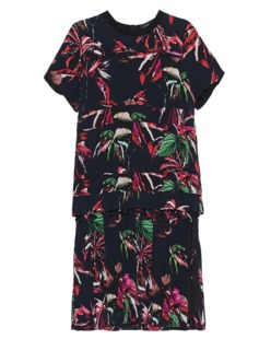PROENZA SCHOULER Drop Waist Dress Pink Tropical
