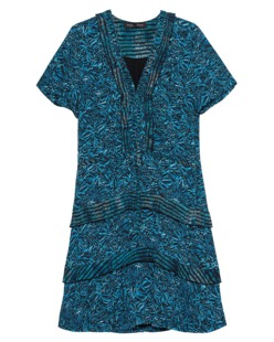 PROENZA SCHOULER Drop Waist Dress Turquoise Aster Print