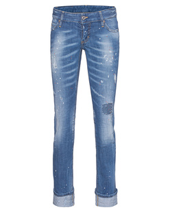 DSQUARED2 Sexy Rolled Up Flare Jean Dot Blue