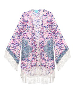 TAJ by Sabrina Crippa  Ornate Beads Kimono Pink Blue