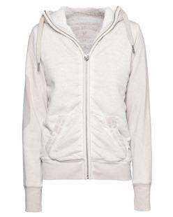 TRUE RELIGION Hooded Zip Jacket True Silver Beige