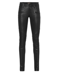 TRUE RELIGION Womens Leather Biker Black