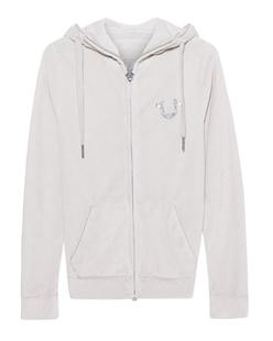 TRUE RELIGION Hooded Zip Jacket Horseshoe Silver Grey