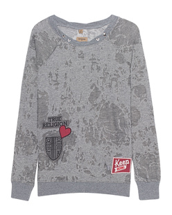 TRUE RELIGION Sweater Patches Silver Grey
