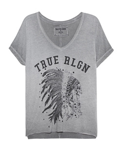 TRUE RELIGION V Neck Indian Skull Castle Rock