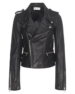 FAITH CONNEXION Boxy Leather Jacket Black