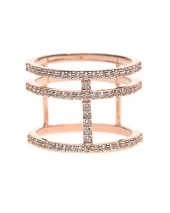 BRONZALLURE Shiny Multi Row Rose Gold