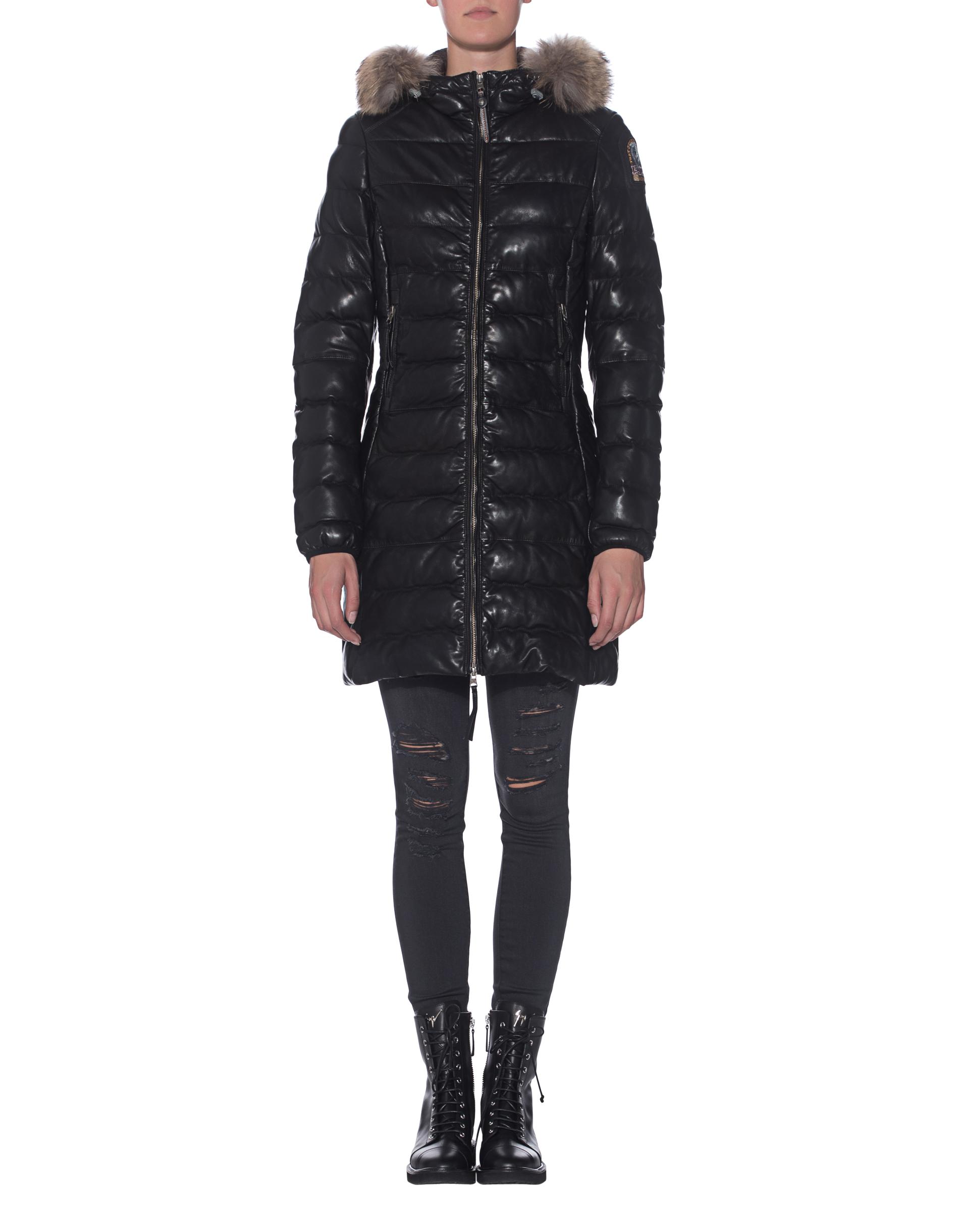 PARAJUMPERSDemi Leather Black // Gesteppter Leder-Mantel