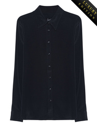 JADICTED Heavy Silk Basic Blouse Black