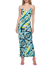 JADICTED Silk Dress Strap Blue Multicolor