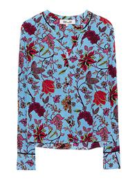 DVF Diane von Furstenberg V Neck Flowers Multicolor