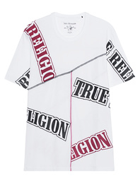 TRUE RELIGION Coverstitch Varsity White