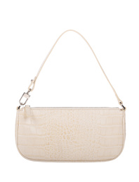 BY FAR Rachel Croco Embossed Cream