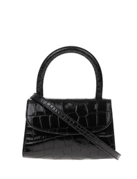 BY FAR Mini Croco Embossed Black